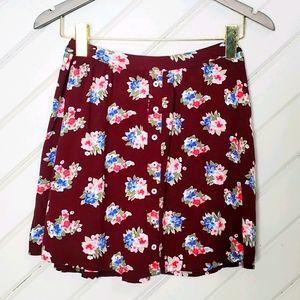 HOLLISTER Floral A-Line Button Skirt